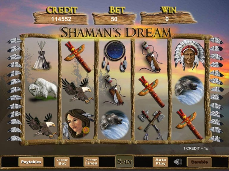 Shaman's Dream gameplay casino slot