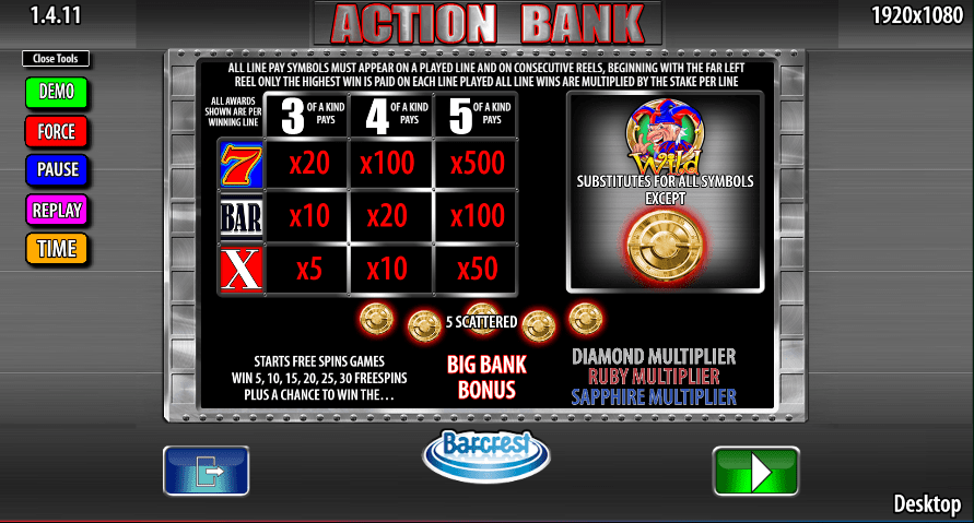 Action Bank Slot Paytable