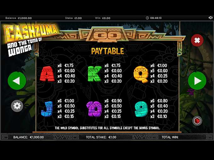 Cashzuma and the Tomb of Wonga Slot Paytable