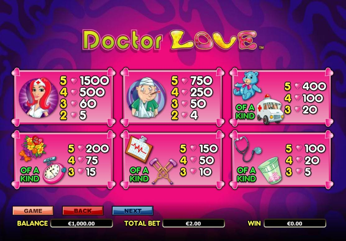 Doctor Love Slot Symbols
