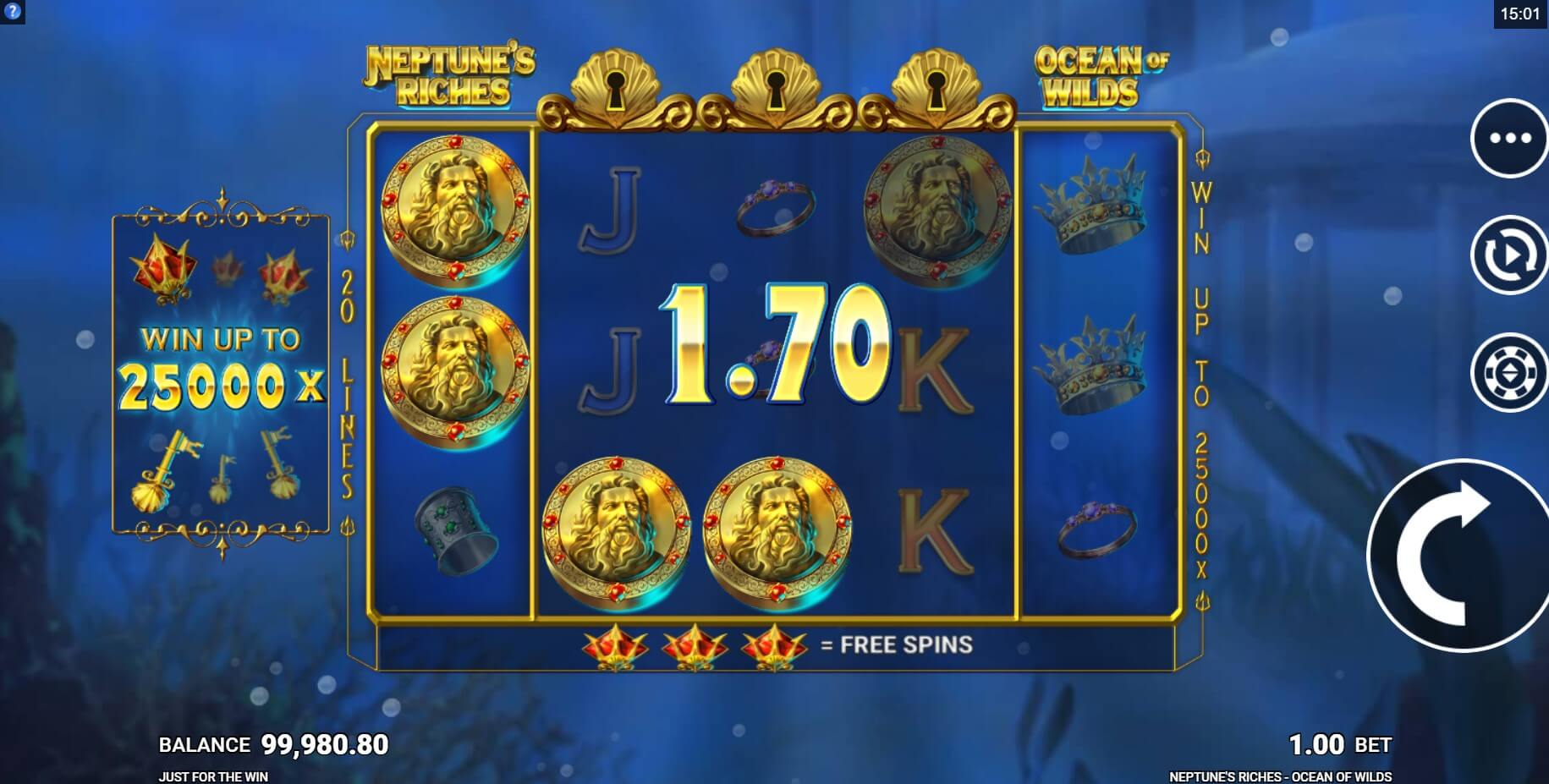 Neptune's Riches: Ocean of Wilds Slot Gameplay