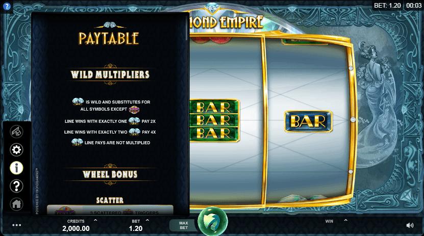 Diamond Empire Slots Features