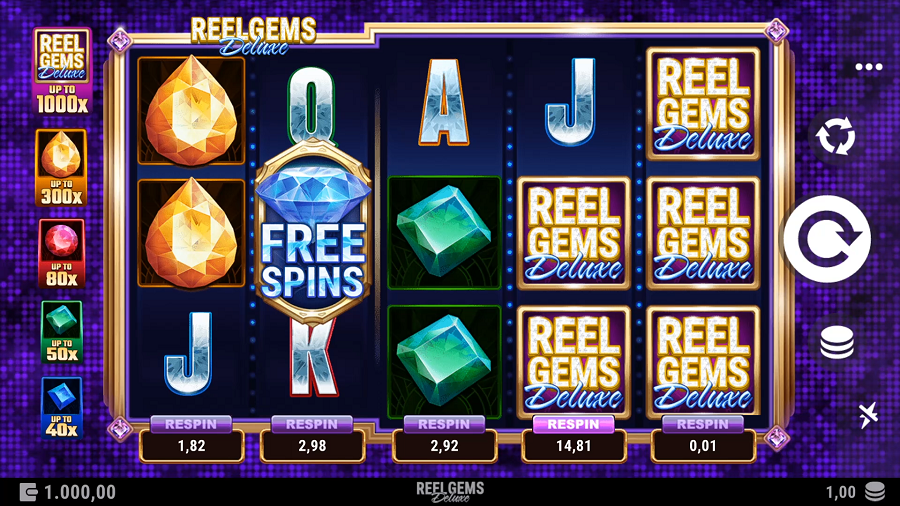Reel Gems Deluxe Slot Gameplay