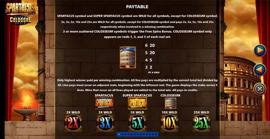 Spartacus Super Colossal Reels Slot Paytable