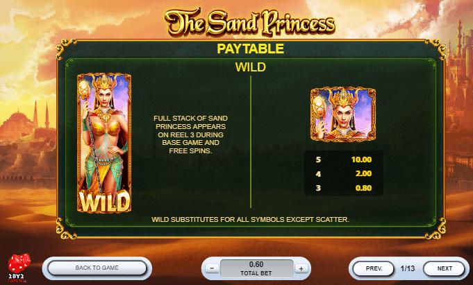 The Sand Princess Slots Paytable