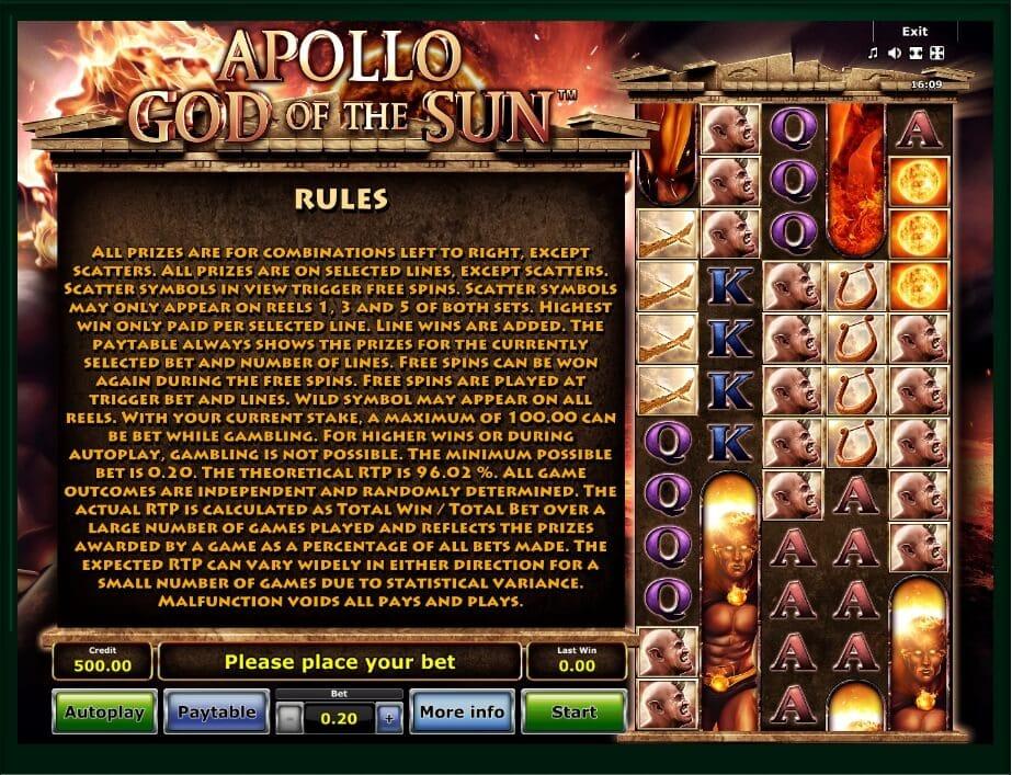 Apollo God of the Sun Slots Info