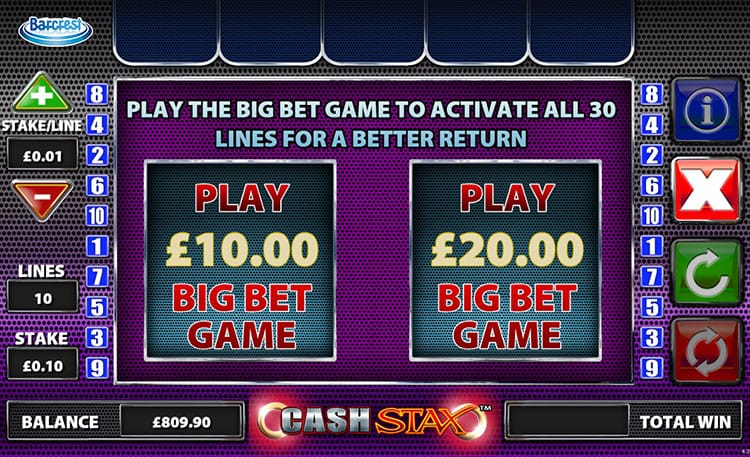 Cash Stax Slot Bonus Game