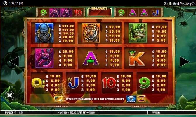 Gorilla Gold Megaways Slot Symbols