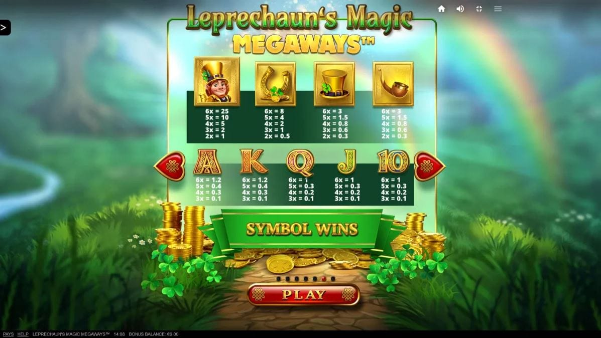 Leprechaun's Magic Megaways Slot Paytable
