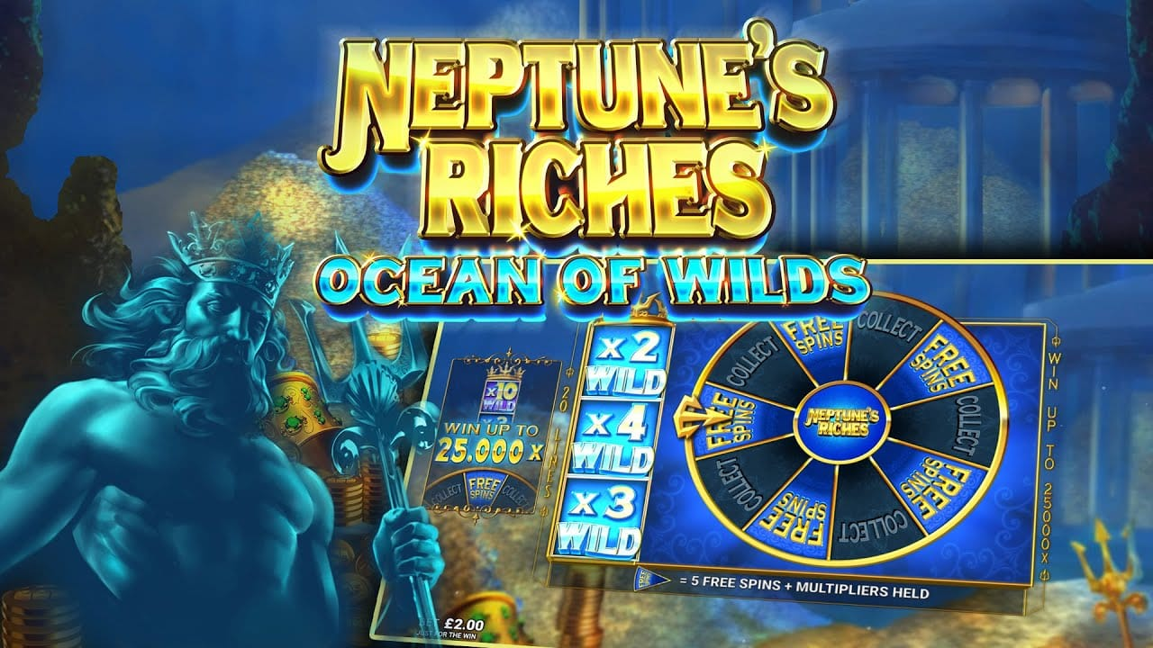 Neptune's Riches: Ocean of Wilds Slot Logo Slots Racer