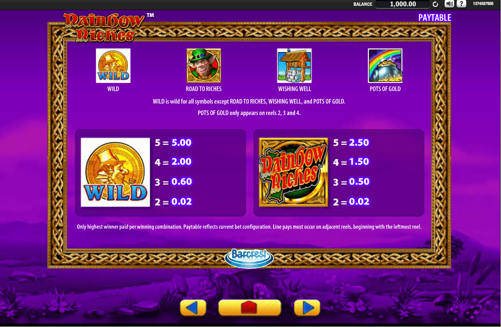 Rainbow Riches Pots of Gold Slot Online