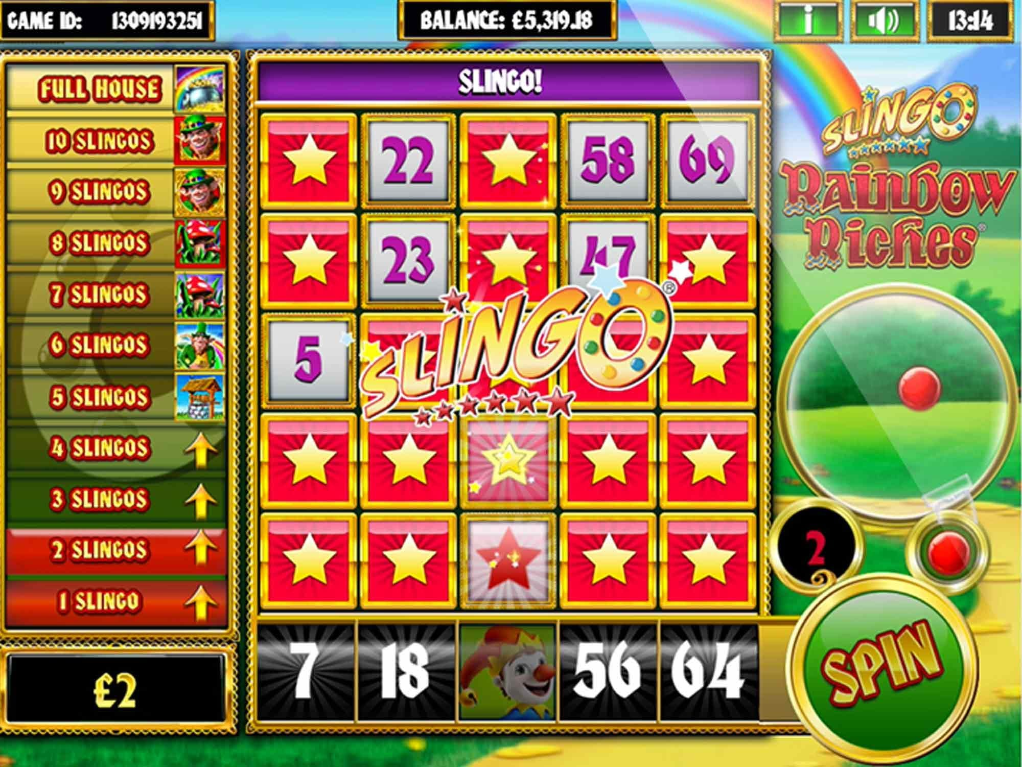 Slingo Rainbow Riches Free Slots