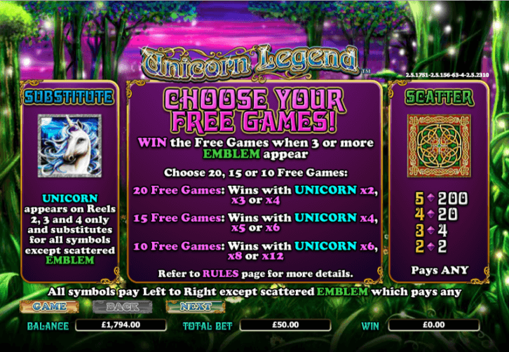 Unicorn Legend Slot Bonus Games