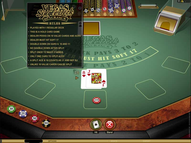 Vegas Single Deck Blackjack Casino Game