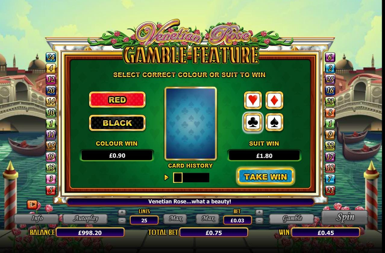 Venetian Rose Slot Bonus Game