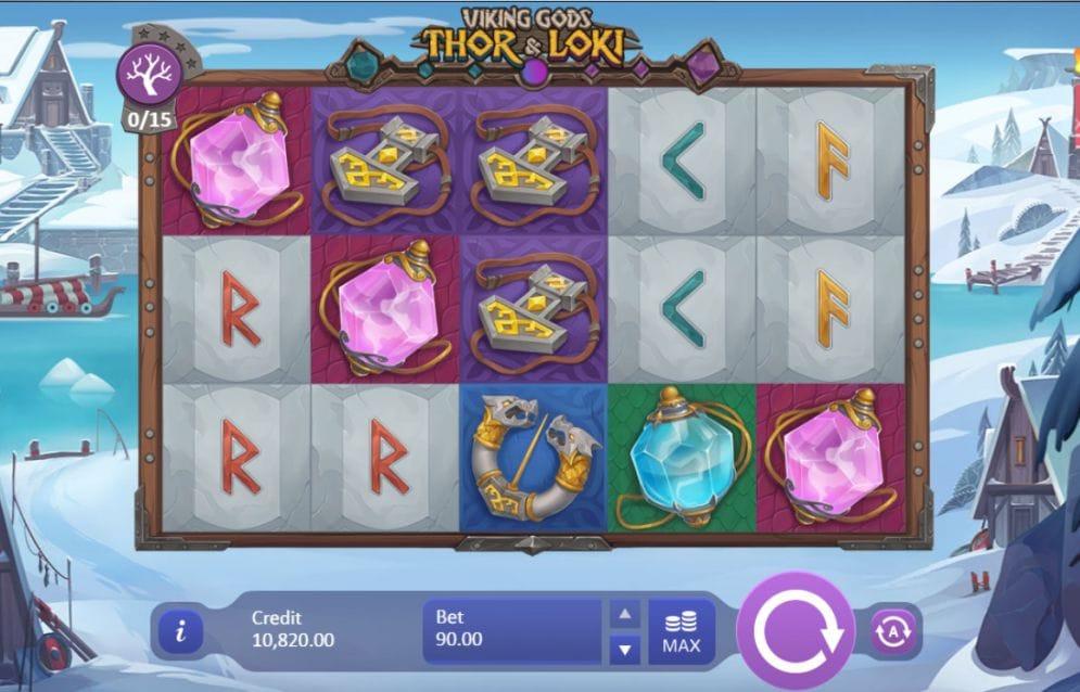 Viking Gods Thor and Loki online slot gameplay