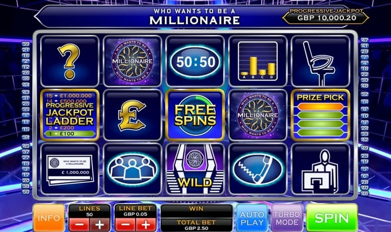 Who Wants To Be a Millionaire Slot Game Play