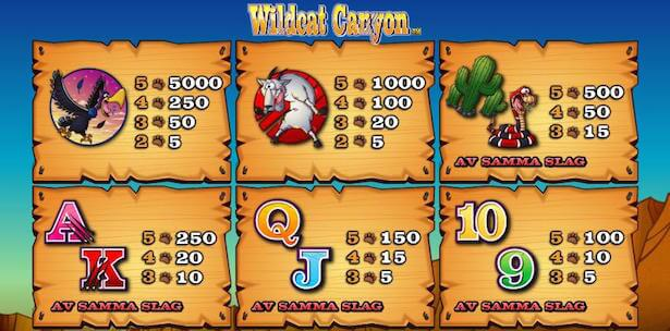 Wildcat Canyon Slots Paytable